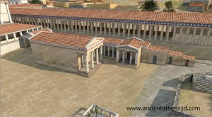 The southwest Temple and the buildings that were perhaps used as government offices. The southwest Temple was also constructed from materials of another classical building (probably from a Doric building of Thorikos) and was possibly dedicated to the imperial family.