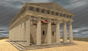 The Temple of Hephaestus after the conversion into a church of St. George. The christian addition is obvious between the columns.