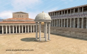 The Monopteros in front of the Basilica and the Stoa of Attalos