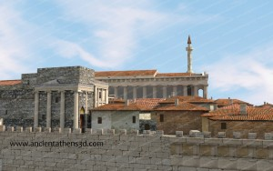 Part of the Acropolis from the north. On the left is the Erechtheum and in the background the Parthenon as a mosque.