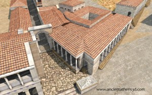 The Library of Pantainos from above. On the left is the southern end of the Stoa of Attalos.