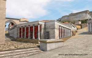 The Library of Pantainos from northwest. On the background, the Acropolis.