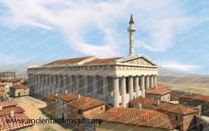 The Parthenon after the conversion into a mosque with the minaret in the southwest corner.