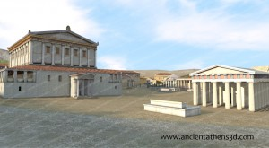 From the Northeast. On the left is the Odeion of Agrippa and on the right, the Temple of Ares.