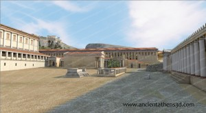 View from the North towards the Middle Stoa.