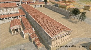The Middle Stoa in the Roman times. The Soouth Stoa II and the Aiakeion were destroyed during the sack of the city by the Roman general Sylla in 86 BCE and were not built again.