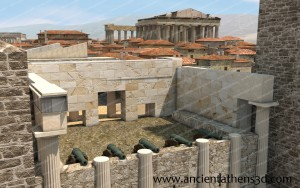 The destroyed Propylaea were used as a cannon battlement.